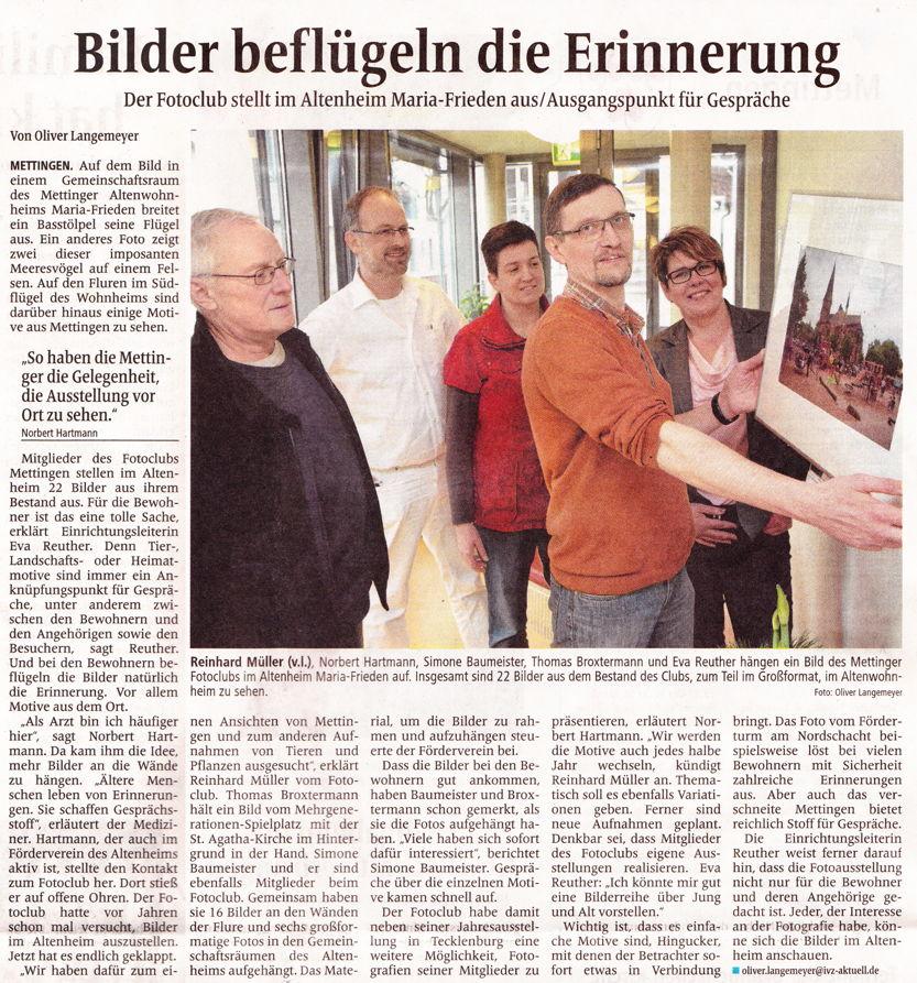 """Fotoclubmitglieder stellen im Altenheim """"Maria Frieden"""" in Mettingen aus"""