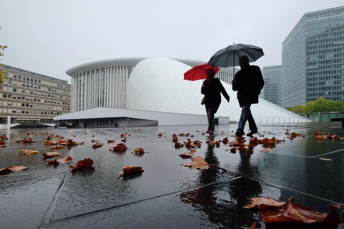 1. Platz: Spaziergänger in der Großstadt im Regen, Fotograf: Herbert Hölzl