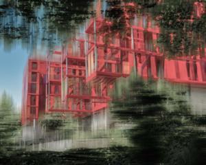 Rotes Wohnhaus Gebäude abstrakt